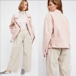 Free People Pale Pink Denim Oversized Moto Jacket
